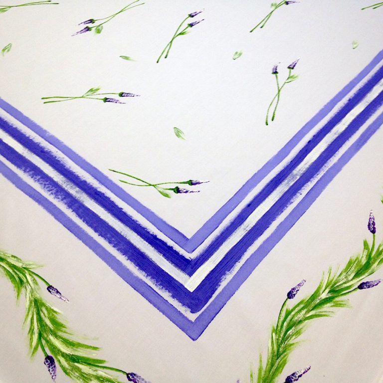 Lavender on White with Blue Stripes
