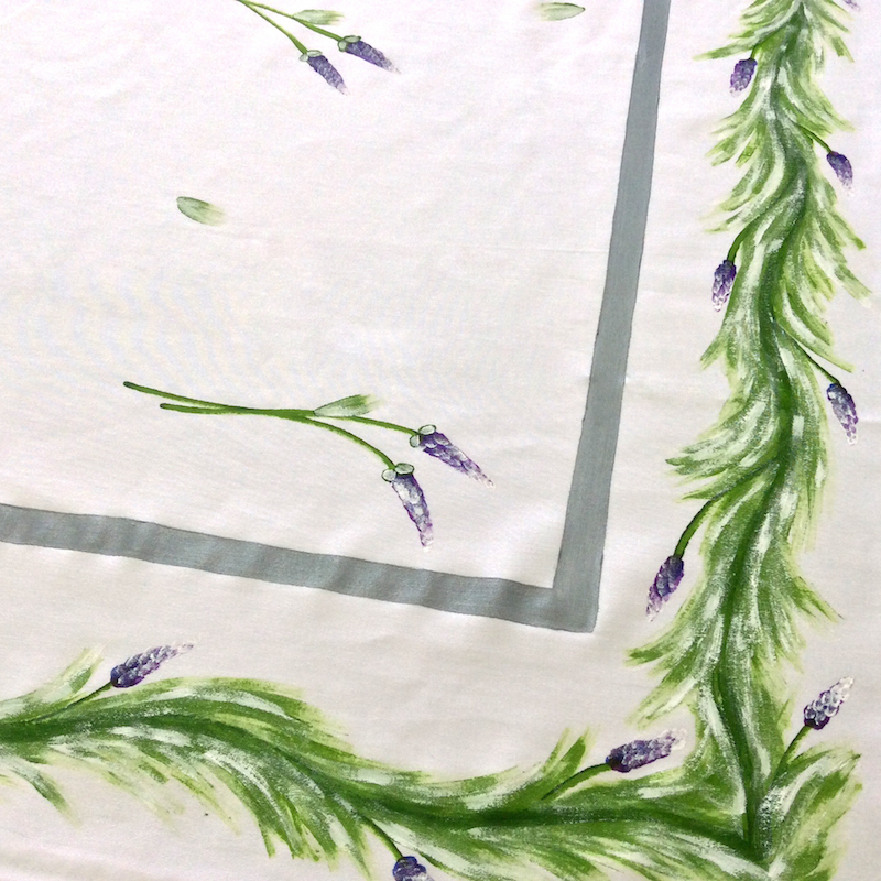 Lavender on White with Silver Stripes