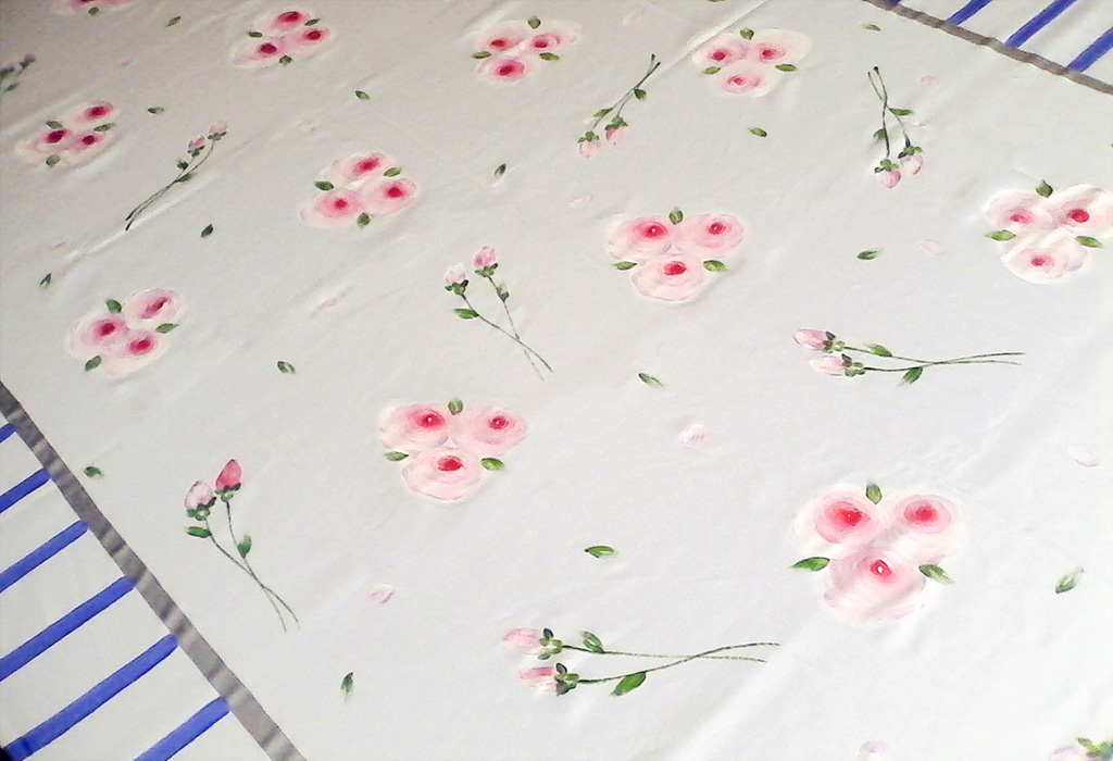 Pink Roses on White with Blue Stripes