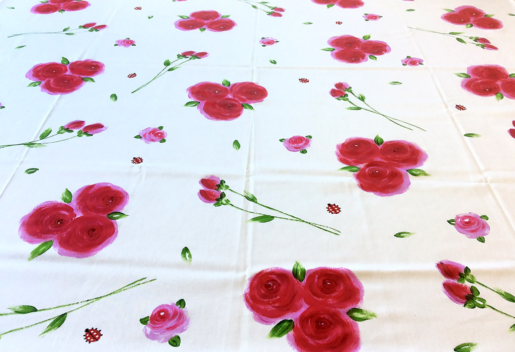 Red Pink Roses on White